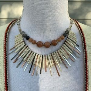Nakamol Bead Stone Metal bib Statement Necklace